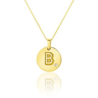 Μενταγιόν Alphabet μονόγραμμα ''B'' από χρυσό 18Κ με διαμάντι μπριγιάν