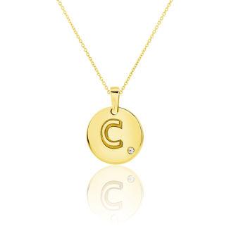 Μενταγιόν Alphabet μονόγραμμα ''C'' από χρυσό 18Κ με διαμάντι μπριγιάν