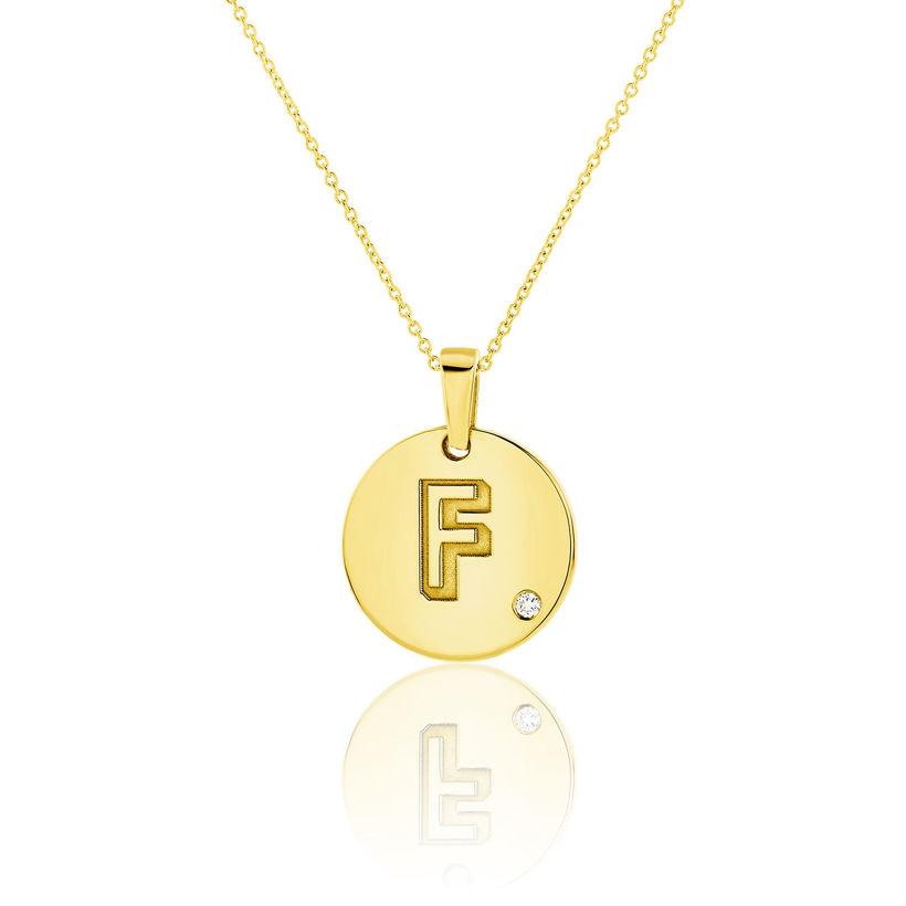 Μενταγιόν Alphabet μονόγραμμα ''F'' από χρυσό 18Κ με διαμάντι μπριγιάν