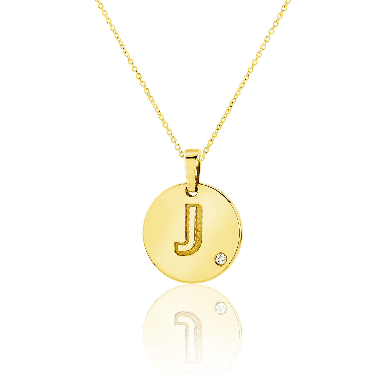 Μενταγιόν Alphabet μονόγραμμα ''J'' από χρυσό 18Κ με διαμάντι μπριγιάν