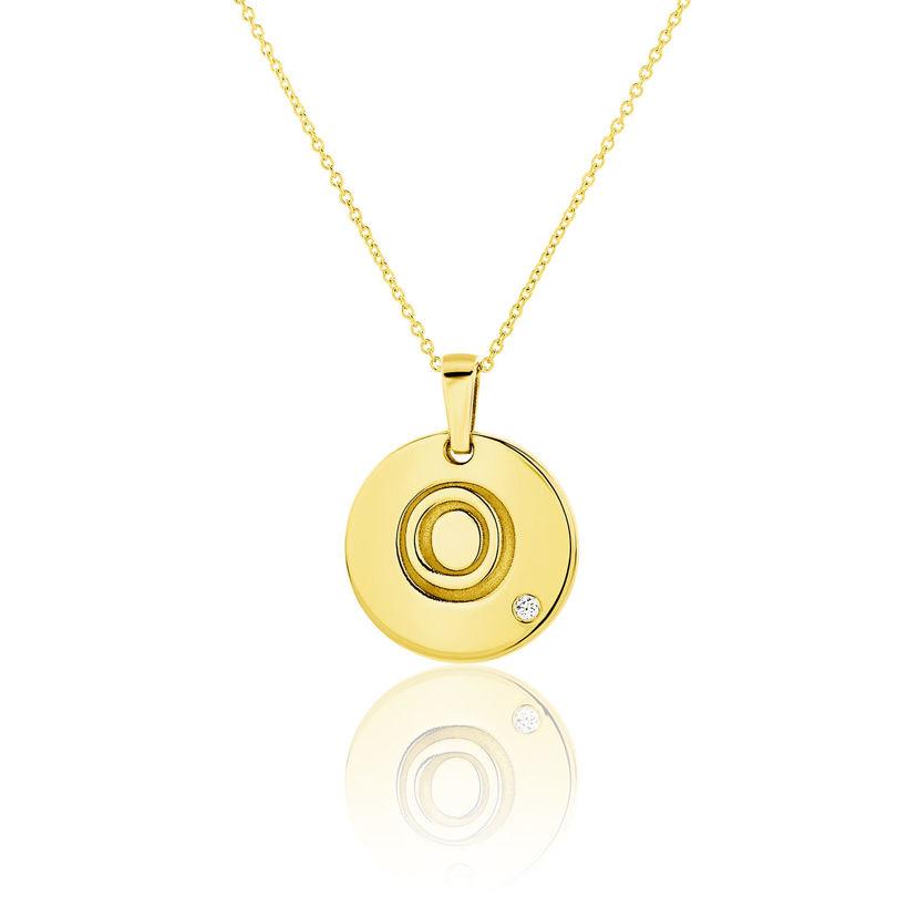 Μενταγιόν Alphabet μονόγραμμα ''O'' από χρυσό 18Κ με διαμάντι μπριγιάν