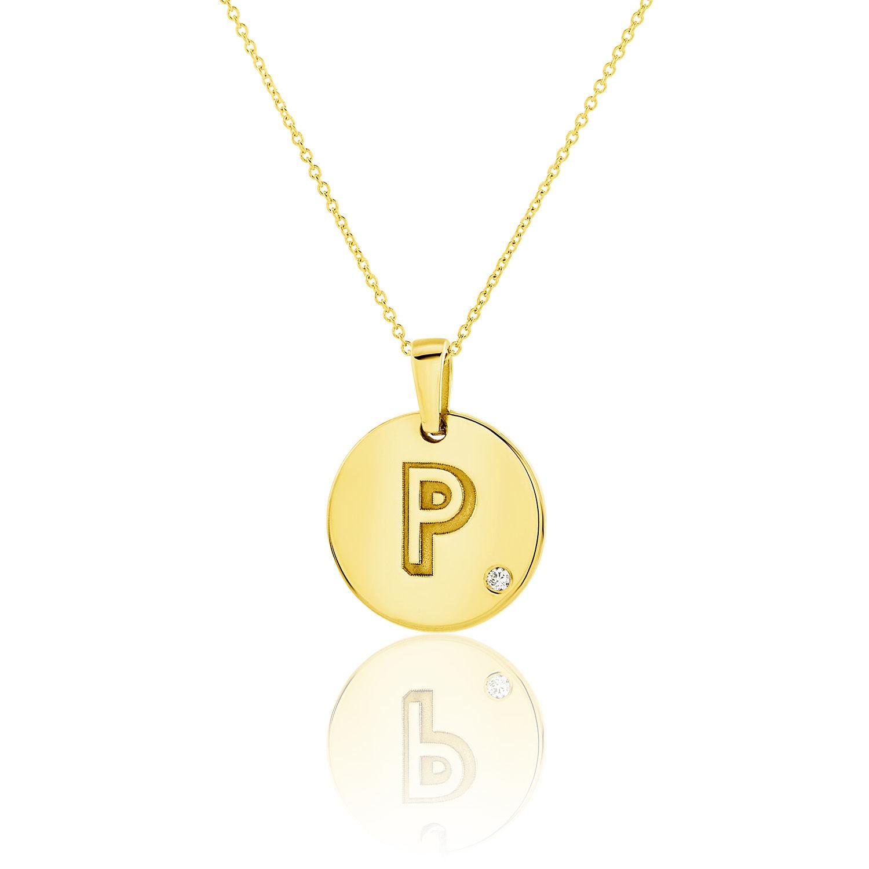 Μενταγιόν Alphabet μονόγραμμα ''P'' από χρυσό 18Κ με διαμάντι μπριγιάν
