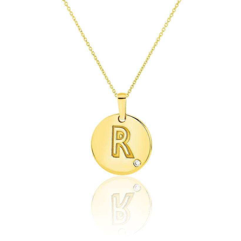 Μενταγιόν Alphabet μονόγραμμα ''R'' από χρυσό 18Κ με διαμάντι μπριγιάν