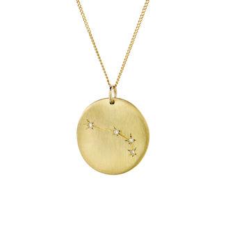 Μενταγιόν Constellation Κριός από χρυσό 9Κ με διαμάντια μπριγιάν