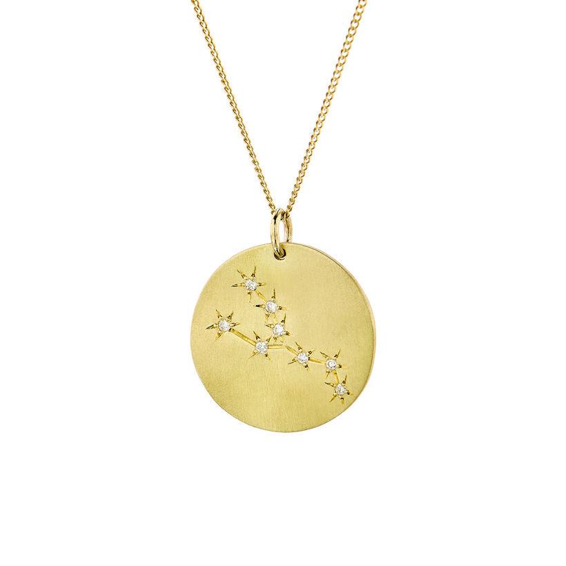 Μενταγιόν Constellation Ταύρος από χρυσό 9Κ με διαμάντια μπριγιάν
