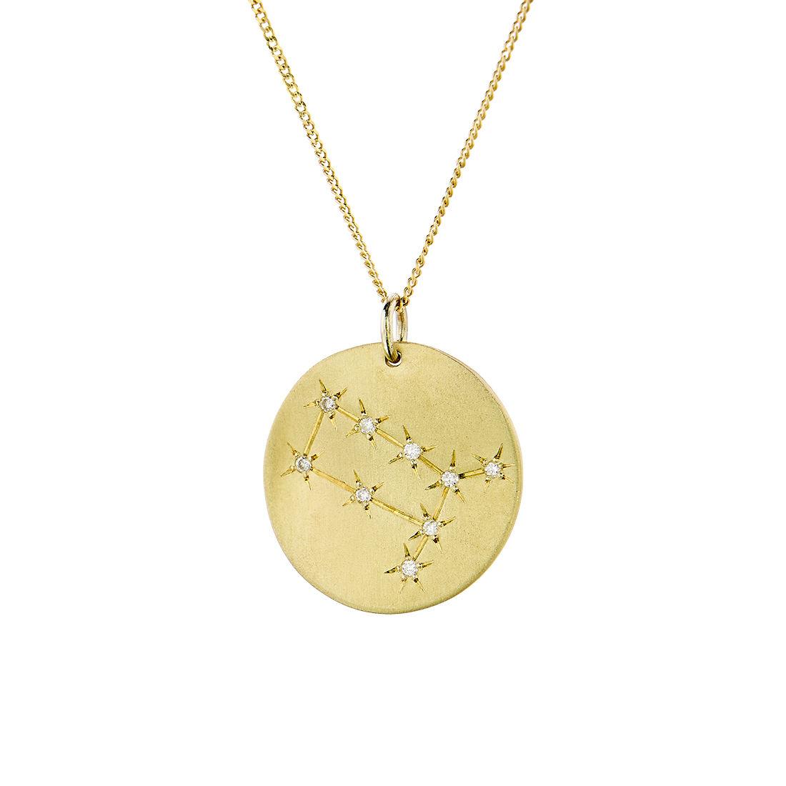 Μενταγιόν Constellation Δίδυμος από χρυσό 9Κ με διαμάντια μπριγιάν