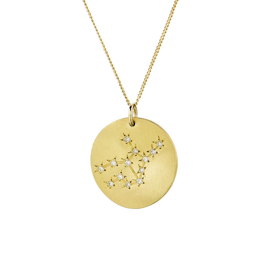 Μενταγιόν Constellation Παρθένος από χρυσό 9Κ με διαμάντια μπριγιάν