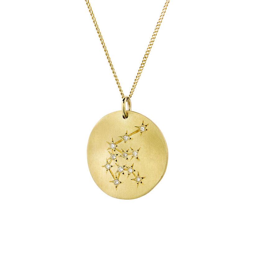 Μενταγιόν Constellation Υδροχόος από χρυσό 9Κ με διαμάντια μπριγιάν