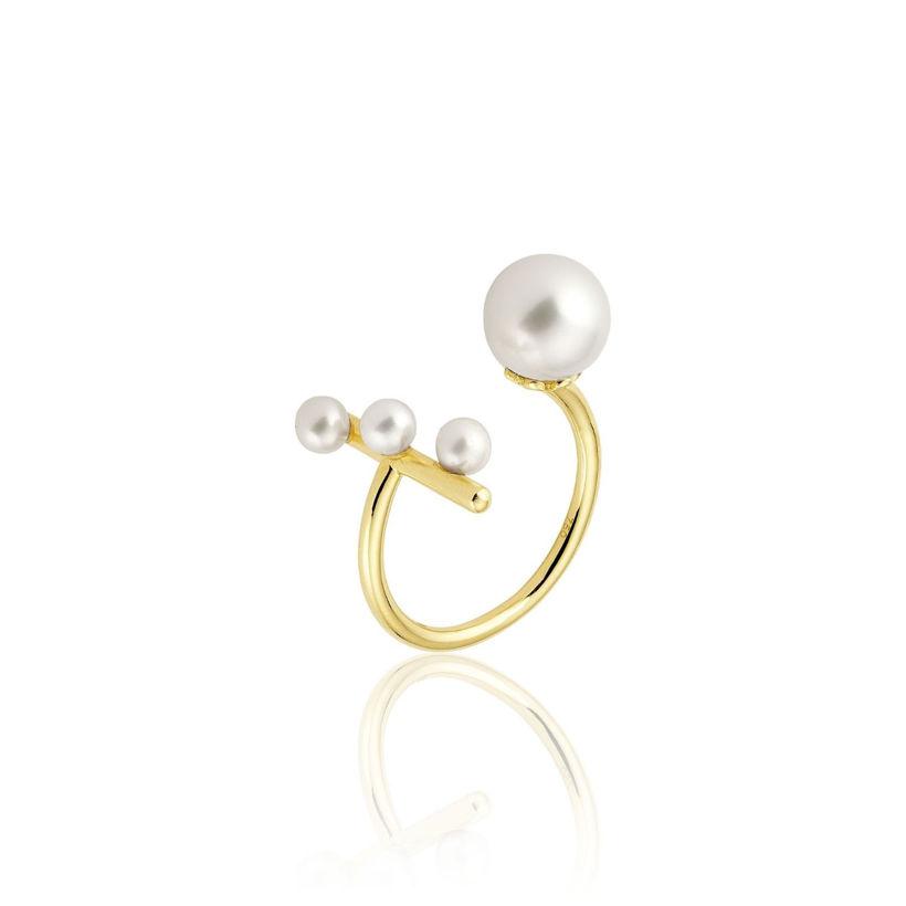 Δαχτυλίδι Pearls από χρυσό 18Κ με freshwater pearls