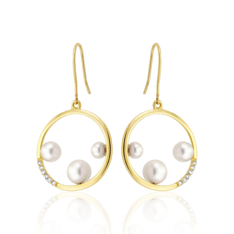 Σκουλαρίκια Pearls από χρυσό 18Κ με freshwater pearls και διαμάντια μπριγιάν