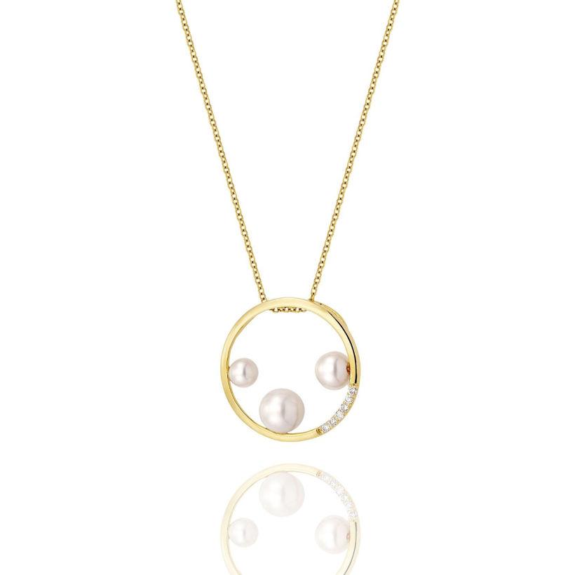 Μενταγιόν Pearls από χρυσό 18Κ με freshwater pearls και διαμάντια μπριγιάν
