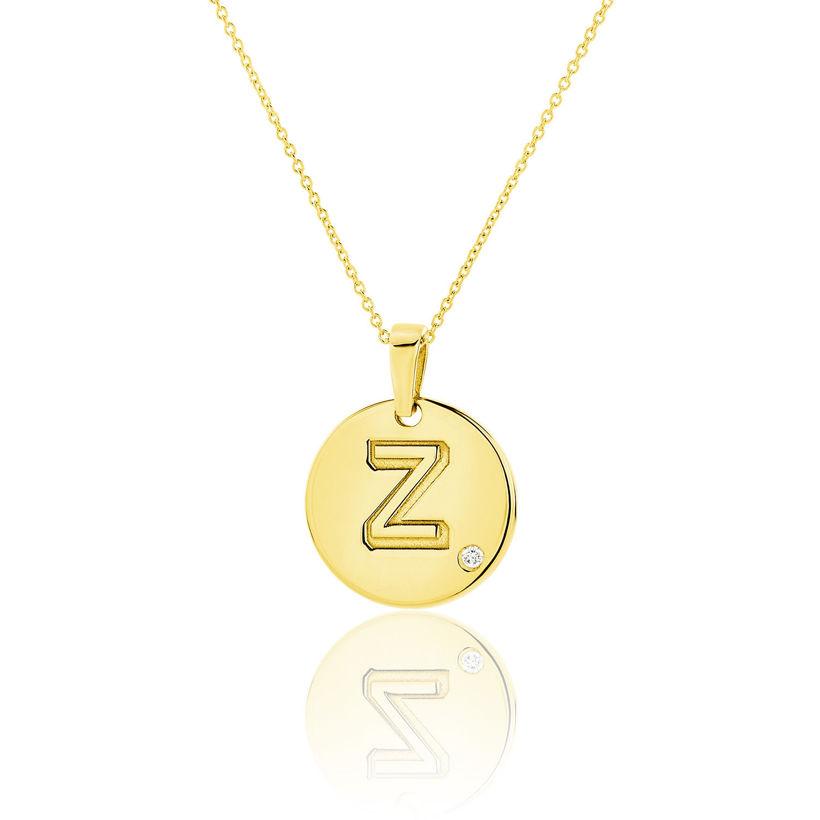 Μενταγιόν Alphabet μονόγραμμα ''Z'' από χρυσό 18Κ με διαμάντι μπριγιάν