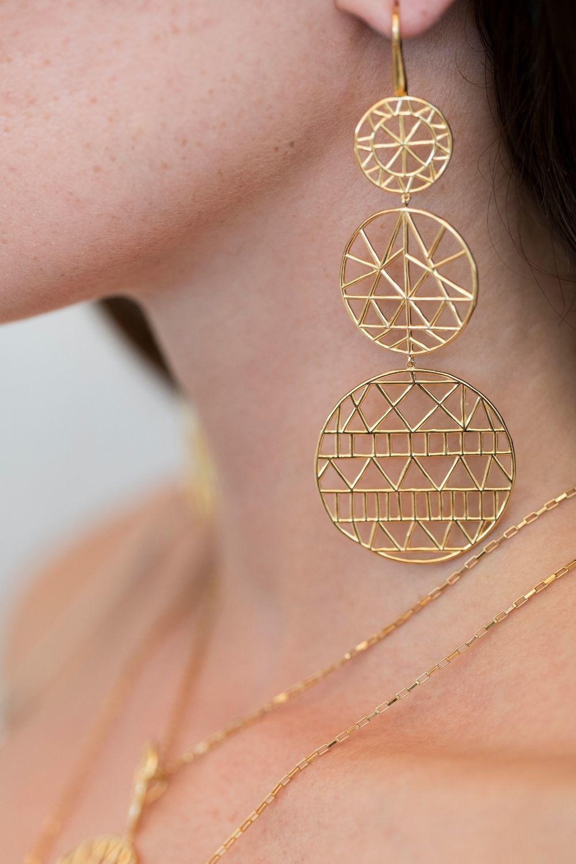 Σκουλαρίκια Cyclades τριπλά από επιχρυσωμένο ασήμι 925°