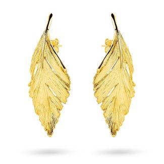 Σκουλαρίκια Gaia Gold από χρυσό 18Κ με σχέδιο φύλλο
