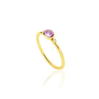 Δαχτυλίδι Gems από χρυσό 18Κ με ροζ ζαφείρι και διαμάντια μπριγιάν