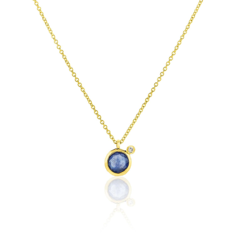 Κολιέ Gems από χρυσό 18Κ με μπλε ζαφείρι και διαμάντι μπριγιάν