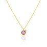 Κολιέ Gems από χρυσό 18Κ με ροζ ζαφείρι και διαμάντι μπριγιάν