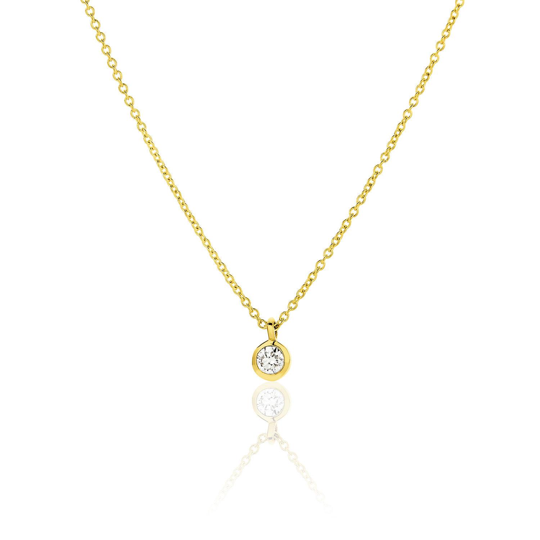 Κολιέ Gems από χρυσό 18Κ με διαμάντι μπριγιάν