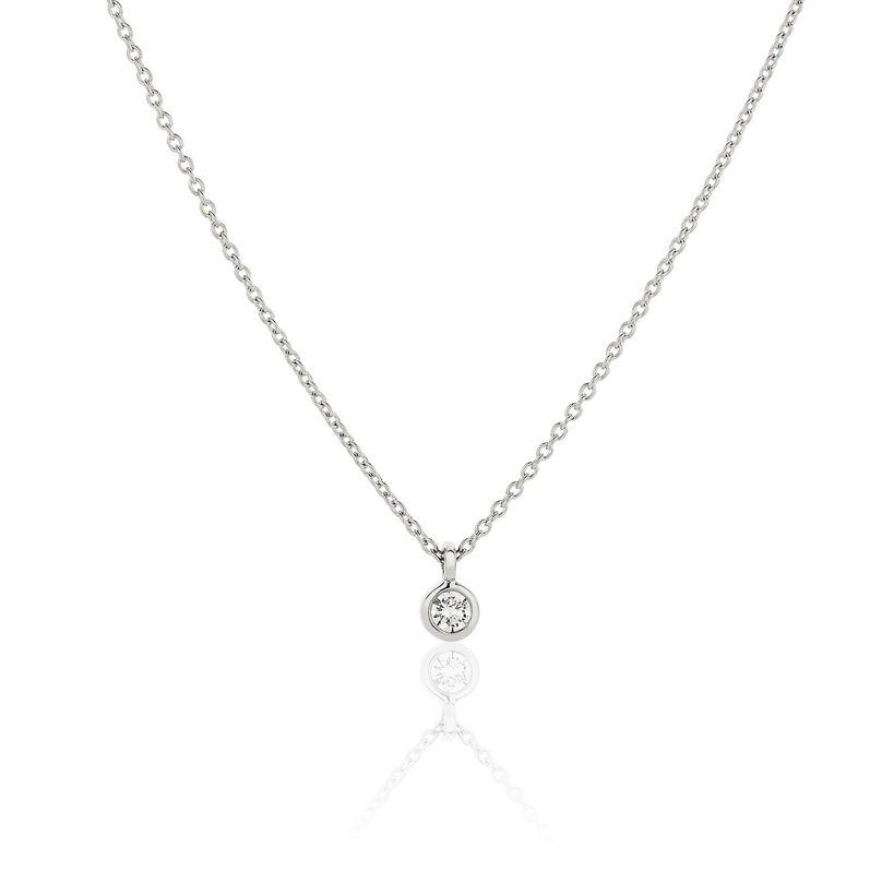 Κολιέ Gems από λευκό χρυσό 18Κ με διαμάντι μπριγιάν