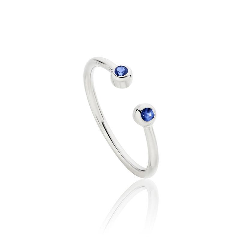 Δαχτυλίδι Gems από λευκό χρυσό 18Κ με μπλε ζαφείρια