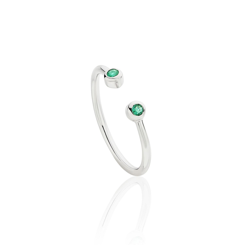 Δαχτυλίδι Gems από λευκό χρυσό 18Κ με σμαράγδια