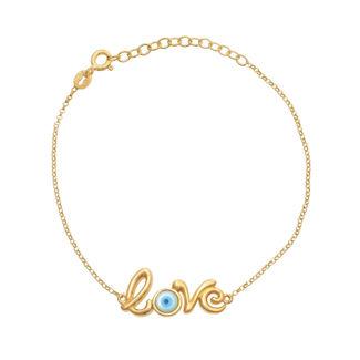 Βραχιόλι Lexis ''love'' από επιχρυσωμένο ασήμι 925° με φίλντισι και τυρκουάζ σμάλτο