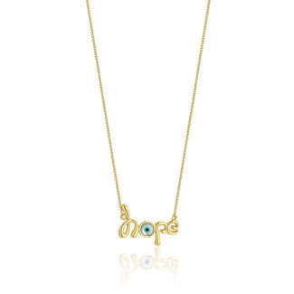 Εικόνα της Κολιέ Lexis ''hope'' από επιχρυσωμένο ασήμι 925° με φίλντισι και τυρκουάζ σμάλτο