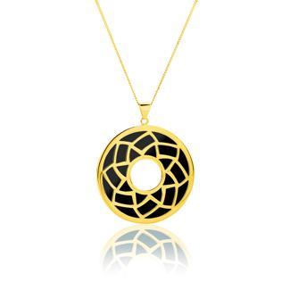 Εικόνα της Μενταγιόν Lotus από επιχρυσωμένο ασήμι 925° και μαύρο σμάλτο