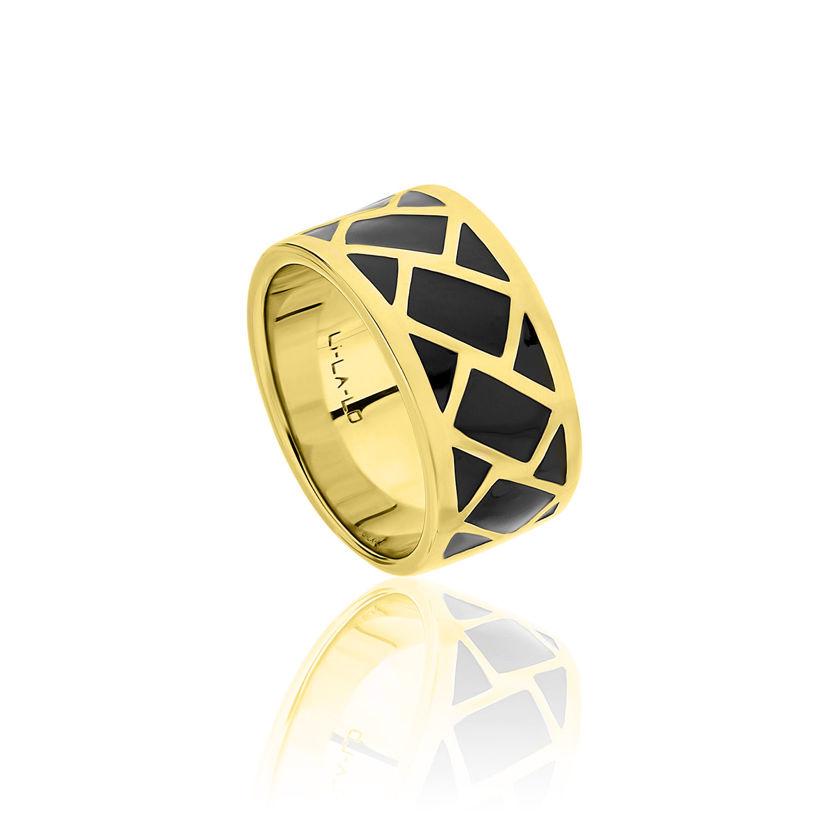 Δαχτυλίδι Lotus από επιχρυσωμένο ασήμι 925° και μαύρο σμάλτο