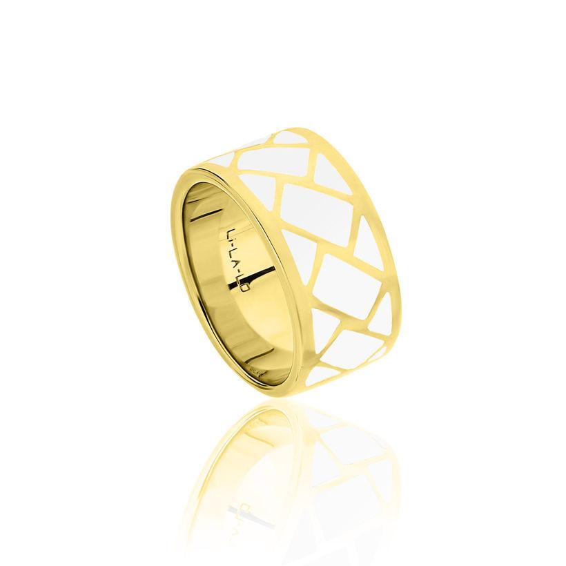 Δαχτυλίδι Lotus από επιχρυσωμένο ασήμι 925° και λευκό σμάλτο