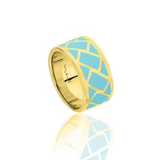 Δαχτυλίδι Lotus από επιχρυσωμένο ασήμι 925° και τυρκουάζ σμάλτο