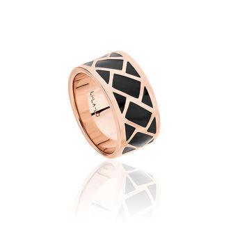Δαχτυλίδι Lotus από ροζ επιχρυσωμένο ασήμι 925° και μαύρο σμάλτο