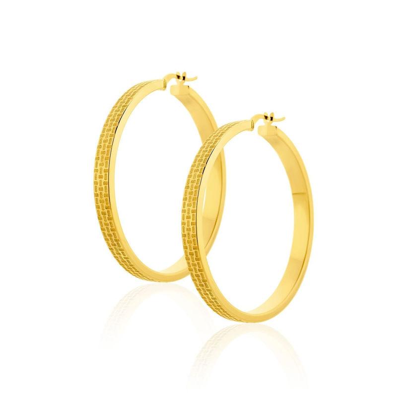 Σκουλαρίκια Aurum κρίκοι μεγάλοι από χρυσό 18Κ με ανάγλυφο σχέδιο