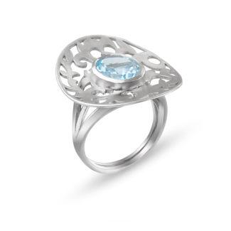 Δαχτυλίδι Arabesque από επιροδιωμένο ασήμι 925° με blue topaz