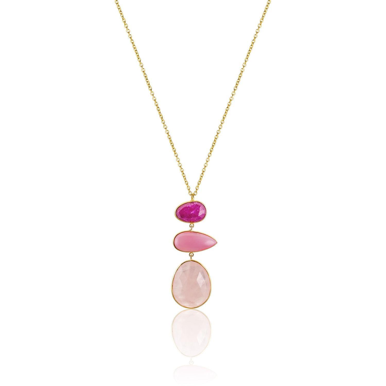 Κολιέ Iris από επιχρυσωμένο ασήμι 925° με pink quartz, ρίζα ρουμπινιού και οπάλιο