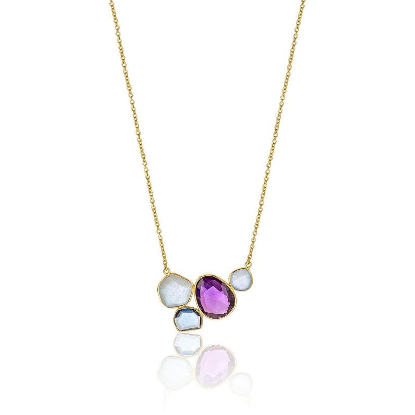 Κολιέ Iris από επιχρυσωμένο ασήμι 925° με ιολίτη, quartz και αμέθυστο