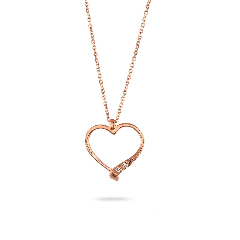 Κολιέ LiLaLove Καρδιά από ροζ χρυσό 18Κ με διαμάντια μπριγιάν