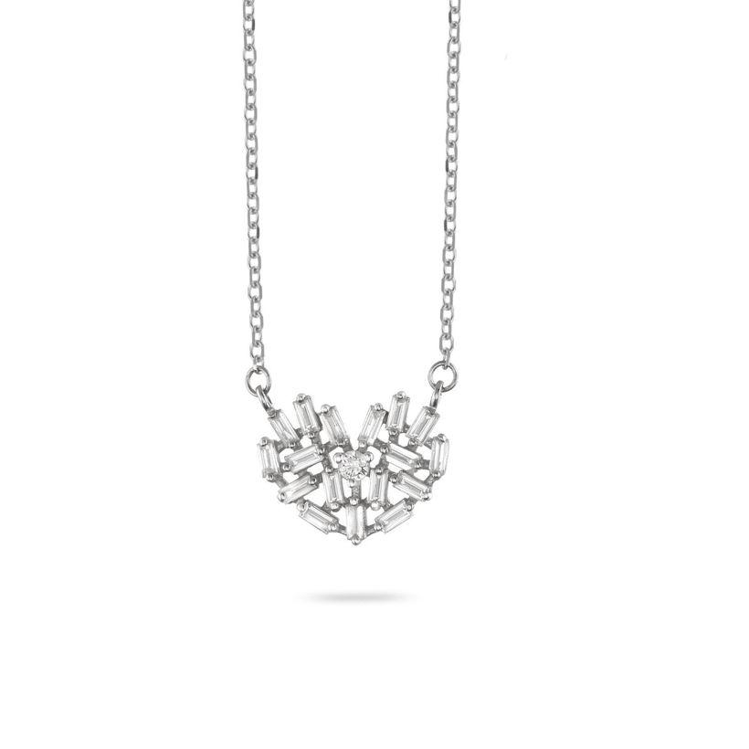 Κολιέ LiLaLove Καρδιά από λευκό χρυσό 18Κ με διαμάντια μπριγιάν & baguette