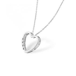 Κολιέ LiLaLove Καρδιά από λευκό χρυσό 18Κ με διαμάντια μπριγιάν