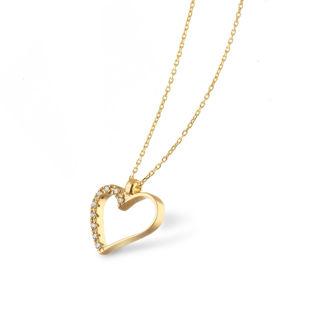 Κολιέ LiLaLove Καρδιά από χρυσό 18Κ με διαμάντια μπριγιάν