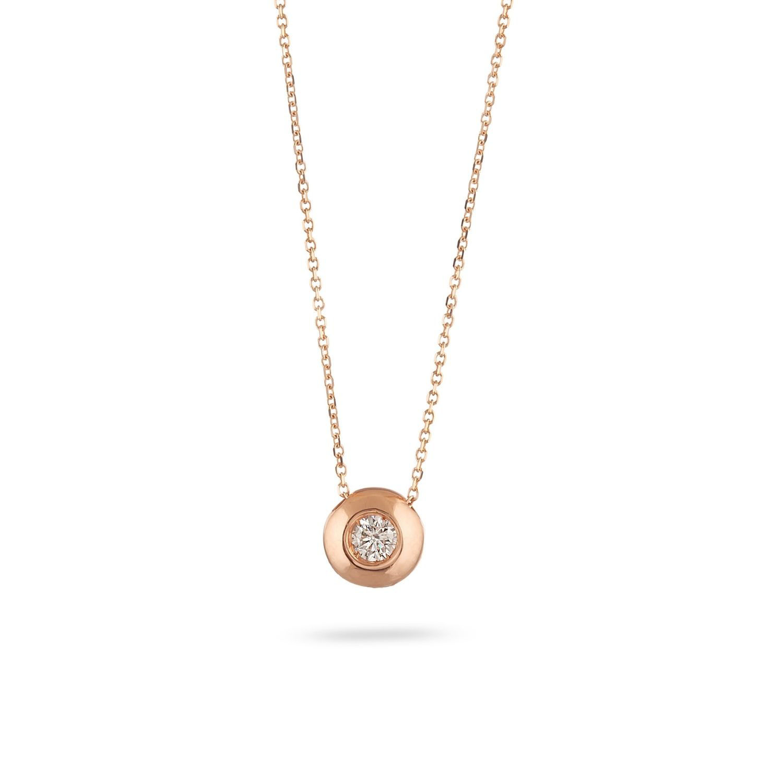 Κολιέ Diamonds από ροζ χρυσό 18Κ με διαμάντι μπριγιάν