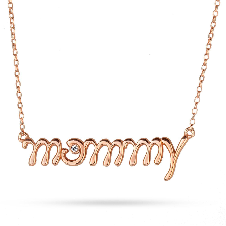 Κολιέ Mommy από ροζ επιχρυσωμένο ασήμι925⁰ με ζιργκόν