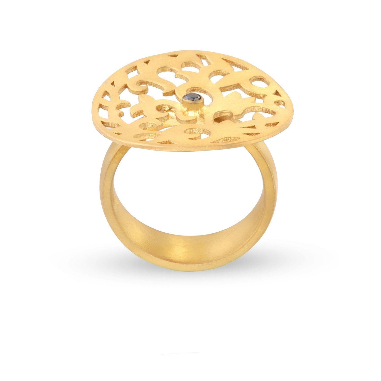 Δαχτυλίδι Arabesque από επιχρυσωμένο ασήμι 925° με μαύρο διαμάντι μπριγιάν