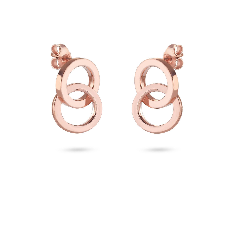 Σκουλαρίκια You & Me από ροζ επιχρυσωμένο ασήμι 925°