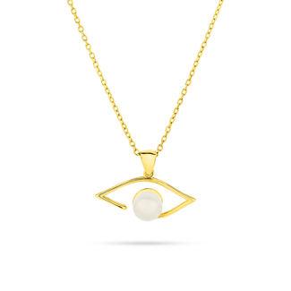 Μενταγιόν i Collection από χρυσό 18K με μάτι από freshwater pearl