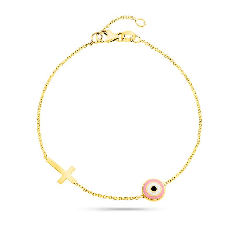 Βραχιόλι i Collection από χρυσό 18K με ματάκι από ροζ σμάλτο και σταυρό