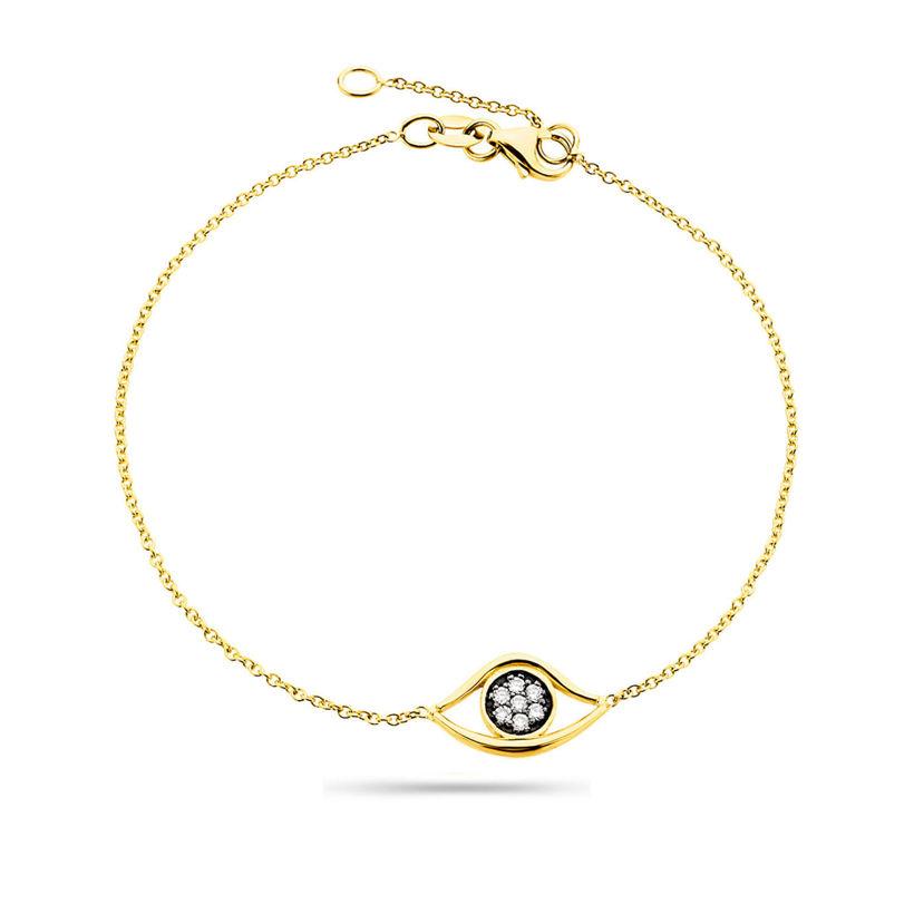 Βραχιόλι i Collection από χρυσό 18K με μάτι από διαμάντια μπριγιάν