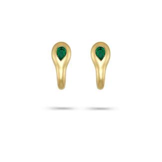 Σκουλαρίκια Mamba από χρυσό 18K με σμαράγδι pear