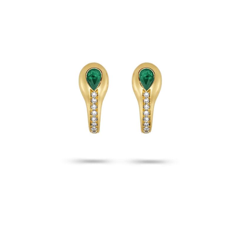 Σκουλαρίκια Mamba από χρυσό 18K με σμαράγδι pear και διαμάντια μπριγιάν