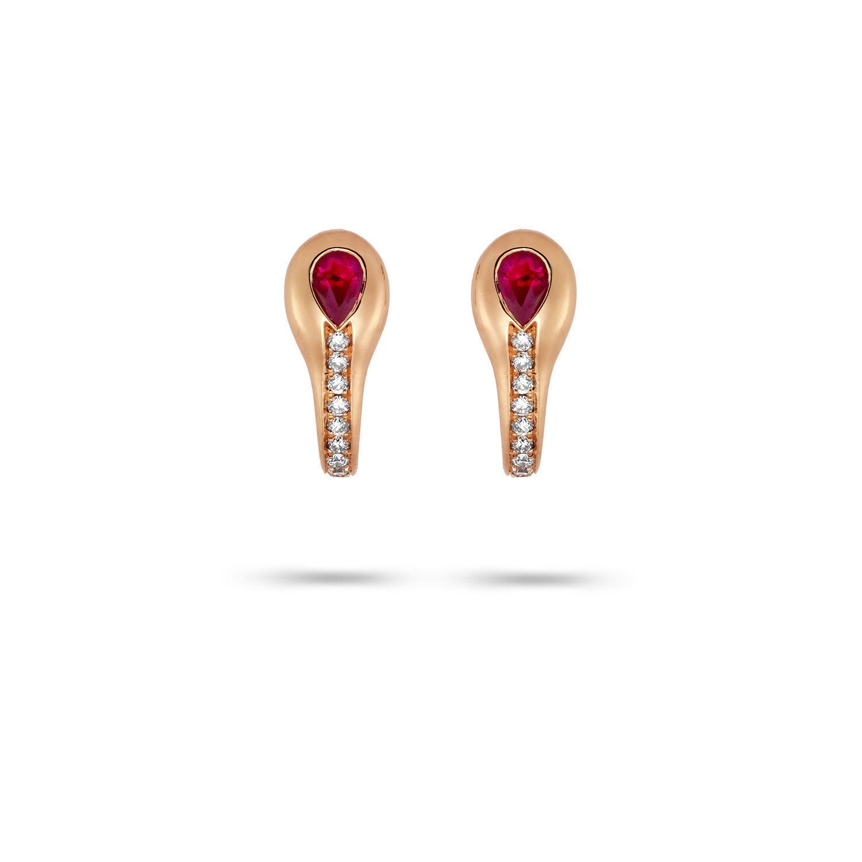 Σκουλαρίκια Mamba από ροζ χρυσό 18K με ρουμπίνι pear και διαμάντια μπριγιάν